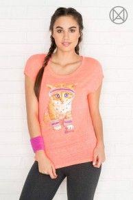 T-shirt MOVE corail fluo avec chat sportif