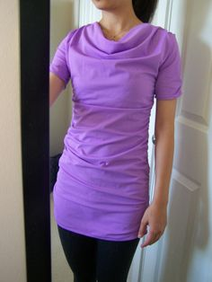 Cowl Neck Ruched Top Tutorial and Free Pattern