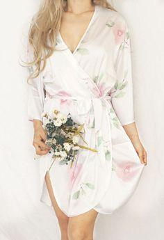 Monogrammed Satin Floral Bridesmaid Robe dcd978dba