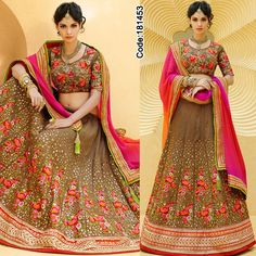 ATTENTION BRIDES!! Discount upto 70% on all the designer Dresses! Be a stylist diva in this brown floral #Lehenga! *Free Shipping Worldwide*  #FloralMotif #Volume #Layers #Embroidery #Designer #Brown #Occasion #IndianDresses #Partywears #Indian #Women #Bridalwear #Fashion #Fashionista #OnlineShopping #Pakistanisuits #Brown #Pink #MirrorWork