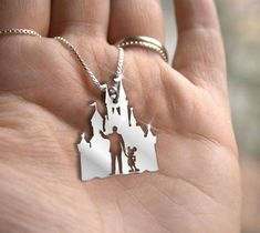 Walt and Mickey statue with the Castle Necklace #disney #disneyjewelry #disneystyle