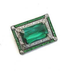 Vintage 1920s Fishel Nessler FN Co Art Deco Emerald Green Rhinestone Brooch | eBay