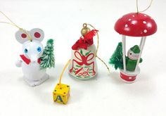 Vintage Set of Small Wooden Ornaments - Set of 4 (1970s)