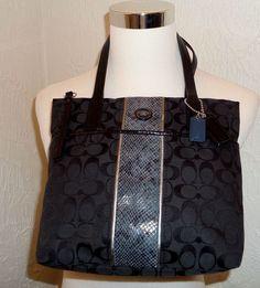 Coach 25706 Signature Python Stripe Tote Bag Purse Black Blue Grey Silver EUC #Coach #TotesShoppers