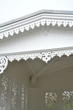 Lace of another kind. Victorian Porch, Victorian Cottage, Victorian Homes, Porches, Shabby Chic, House Trim, Trim Work, Exterior Trim, White Cottage