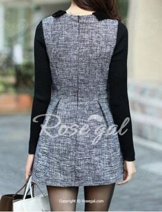 Stylish Peter Pan Collar Long Sleeves Color Splicing Dress For Women - GRAY M Mobile