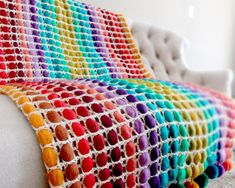 Rainbow Crochet blanket with Pompom, Wool Blanket, Weighted blanket, throw blanket, Bedroom decor Crochet blanket Wool Blanket Weighted blanket Pompom Rainbow throw blanket Bedroom decor Weighted bl Couch Blanket, Weighted Blanket, Wool Blanket, Blanket Crochet, Loom Knitting Blanket, Throw Blankets, Rainbow Crochet, Diy Carpet, Knitted Throws