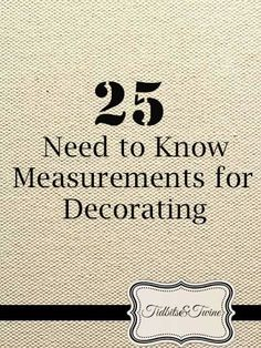 25 Need to Know Measurements for Decorating! Wonder how much spacing to leave between pictures, or the size coffee table you need to be buying, or how high to hang pictures on the wall? Wonder no more...read the link :)