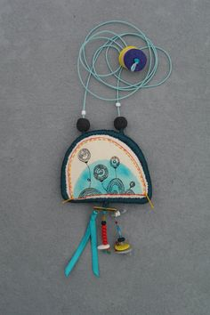 Whimsical fabric necklace / textile necklace / by Percee #jewelry #handmade #etsy
