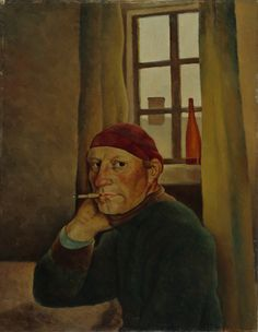 Self-Portrait, Vilho Lampi, Finnish National Gallery. The artist sitting at a table, smoking a cigarette Oil Painting Gallery, Art Gallery, Selfies, Art Photography Portrait, National Gallery, Oil Painting Reproductions, People Art, Illustration Art, Portrait Paintings