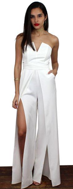 347f2e13fb17 Lovely White Strapless Jumpsuit featuring V-Neck Strapless White Jumpsuit  with Cutoff at the Waist