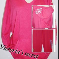 NWT Victoria's Secret Women's S & XS Hoodie pants Victoria's Secret fleece Small pullover hoodie with pouch pockets and foil logo on hood. Includes XS fleece boyfriend pants with adjustable waist, Foil & sequin bling logo. Victoria's Secret Tops Sweatshirts & Hoodies