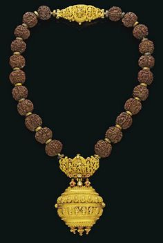 A DIAMOND, RUBY AND PEARL-SET GOLD AND RUDRAKSHA BEAD NECKLACE (RUDRAKSHAMALAI)  TAMIL NADU, 19TH CENTURY
