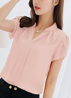 Hot Sale 2019 Women Shirt Chiffon Blusas Femininas Tops Short Sleeve Elegant Ladies Formal Office Blouse Plus Size Chiffon Shirt clothing - Pink - and More Women's Blouses & Shirts Enjoy up to off Online. Summer Blouses, Red Blouses, Blouses For Women, Shirt Blouses, Summer Tops, Blouses 2017, Plus Size Shirts, Plus Size Blouses, Blouse Designs