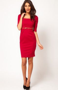 Classy Red Dress - Red Square Neck Half Sleeve Bodycon Dress