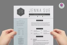 Modern, chic resume package : 2-page CV template , cover letter template
