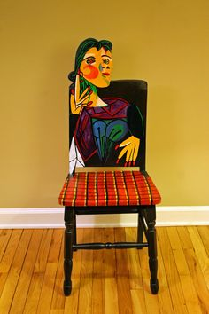 Picasso Dora Maar Upcycled Chair Painted by Todd Fendos