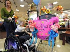 Melody Leach said her daughter can't fit in ordinary carts and experiences seizures if she's in her wheelchair for too long.