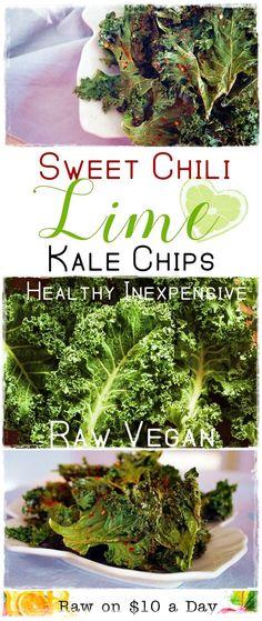 Feb 23 2020 - Sweet Chili Lime Kale Chips Oil Free Raw Vegan Healthy Raw on 10 Raw Vegan Recipes, Vegan Snacks, Dairy Free Recipes, Healthy Snacks, Vegetarian Recipes, Raw Vegan Dinners, Gluten Free, Vegetarian Appetizers, Vegan Raw