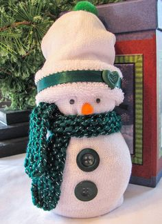 Sock Snowman with gift box by QPCC on Etsy