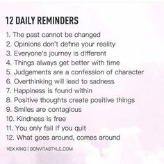 self care: 12 Daily Reminders happy life happiness positive e. The Words, Health Mantra, Health Motivation, Monday Motivation, Positive Quotes For Life Encouragement, Affirmations, Self Improvement Tips, Daily Reminder, Daily Mantra