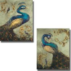 Tiffany Hakimpour 'Peacock on Sage I and II' 2-piece Canvas Art Set
