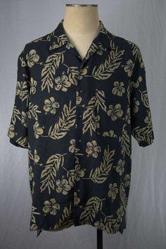 Byron Nelson Eleven Straight Silk Hawaiian Golf Shirt Plumeria Short Sleeve LG #ByronNelson #Hawaiian