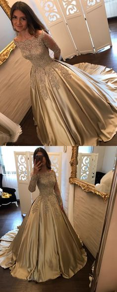 Princess A-Line Off-Shoulder Long Sleeves Ball Gown Long Prom/Wedding Dress with Appliques Lace #champagnepromdresses #prom #dresses #longpromdress #promdress #eveningdress #promdresses #partydresses #Prettylady