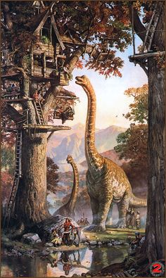 Dinotopia.  I LOVED this series as a child.  Such beautiful illustrations.