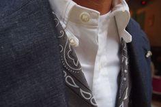 tab collar shirt, bandana vest