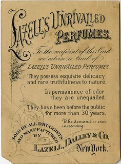 Lazell's Unrivalled Perfumes - Reverse | Flickr - Photo Sharing!