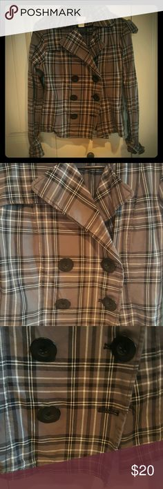 Maurices plaid Gray peacoat!! This is in excellent condition, except that there are two buttons missing. Price will be greatly lowered to accommodate for this I just don't have the time to make the repairs myself. The buttons are very common so it shouldn't be hard to find replacements. Maurices Jackets & Coats Pea Coats