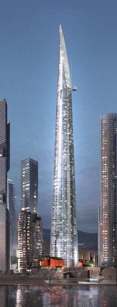 Triple One Landmark Tower, Seoul, South Korea by Renzo Piano Architect :: height 620m, new Yongsan International Business District development