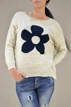ea8fc41920b3 Γυναικείο πουλόβερ με σχέδιο PLEK-2732-ec Γυναίκα - Πλεκτά και ζακέτες