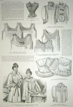 1890s Fashion Underwear illustration Corset Covers Drawers Pantaloons Night Gowns Chemises Antique 1898 - Great to Frame