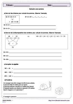 Une petite fiche d'exercice sur la décomposition des nombres dans une somme. Cycle 3, Maths, Composition, School, Names, Note Cards, Chart, Learning