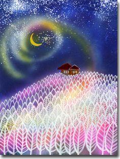 新月紫紺大作の月の絵 タイトル「神様の棲む森」