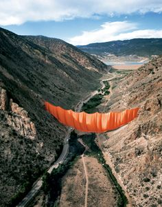 "lanaadams: "" Christo and Jeanne-Claude Valley Curtain, Rifle, Colorado, Photo: Harry Shunk "" Land Art, Richard Long, Art Installations, Installation Art, Christo Et Jeanne Claude, Running Fence, Art Environnemental, Environmental Art, Conceptual Art"