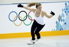 Ashley Wagner (Wagner of the U.S. skates during a figure skating training sesssion in preparation for the 2014 Sochi Winter Olympics..