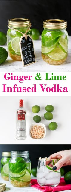 Ginger and Lime infused Vodka - a simple but thoughtful gift.You can find infused vodka and more on our website.Ginger and Lime infused Vodka - a simple but thoughtful gift. Vodka Drinks, Cocktail Drinks, Fun Drinks, Cocktail Recipes, Alcoholic Drinks, Beverages, Vodka Recipes, Alcohol Recipes, Margarita Recipes