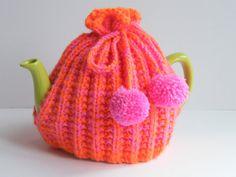 pink + orange tea cozy.