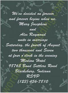 Cute Wedding Invitations Wording