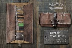 Barber Tool Roll leather handmade and by DukeAndSonsLeather