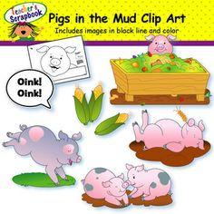 Pigs in the Mud Clip Art from TeacherScrapbook