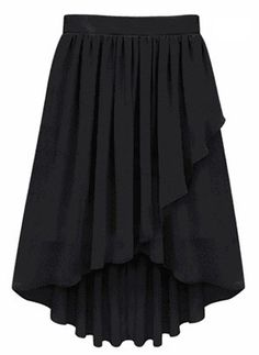 Black Ruffles Pleated High Low Skirt US$22.13