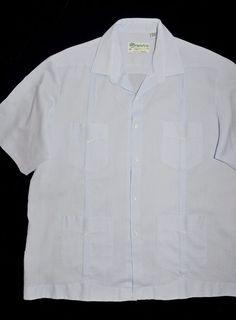 Men's Panabrisa Guayabera Shirt 2XL Long Wedding Ice Blue 4 Pocket 14 Alforza  #Panbrisa #Guayabera