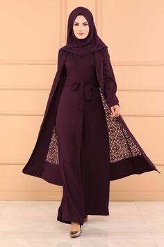 M.S.W - Dantelli 2 Li Tulum Kombin MSW8543 Mürdüm (1) Street Hijab Fashion, Abaya Fashion, Fashion Outfits, Mode Abaya, Mode Hijab, Islamic Fashion, Muslim Fashion, Islamic Women's Clothing, Hijabi Gowns