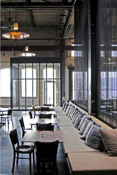 "lights + chain divider + ""industrial"". stork restaurant."