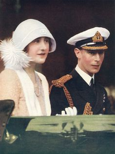 *THE DUKE & DUCHESS of YORK ~ (later King George VI and Queen Elizabeth) arriving home in England following a royal tour of Australia and New Zealand in 1927
