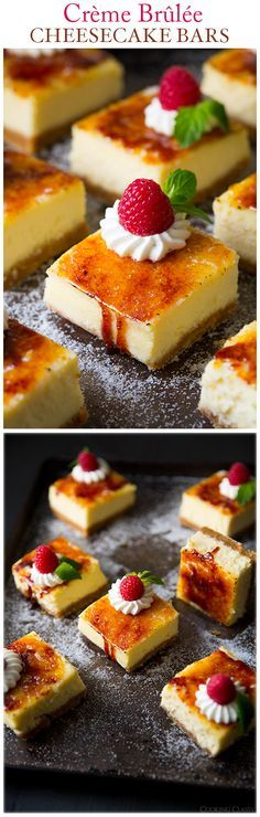 Crème Brûlée Cheesecake Bars - These are one of my all time favorite desserts! Seriously good!